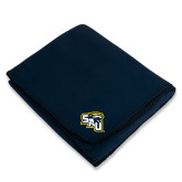 Navy Arctic Fleece Blanket-SAU stepped with Cougar Head