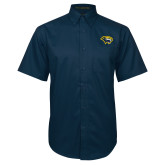 Navy Twill Button Down Short Sleeve-Cougar Head