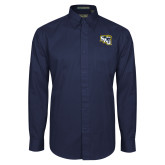 Navy Twill Button Down Long Sleeve-SAU stepped with Cougar Head