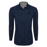 Ladies Navy Twill Button Down Long Sleeve-SAU stepped with Cougar Head