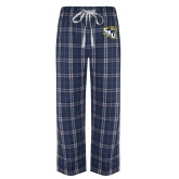 Navy/White Flannel Pajama Pant-SAU stepped with Cougar Head