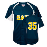 Replica Navy Adult Baseball Jersey-#35