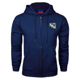 Navy Fleece Full Zip Hood-SAU stepped with Cougar Head