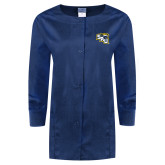 Ladies Navy Snap Front Warm Up Scrub Jacket-SAU stepped with Cougar Head