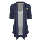 Ladies Navy Drape Front Cardigan-Cougar Head