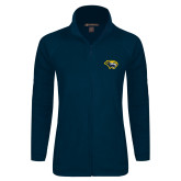 Ladies Fleece Full Zip Navy Jacket-Cougar Head