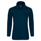 Ladies Fleece Full Zip Navy Jacket-SAU stepped with Cougar Head