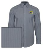 Mens Navy/White Striped Long Sleeve Shirt-Cougar Head