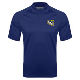 Navy Textured Saddle Shoulder Polo-SAU stepped with Cougar Head