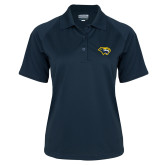 Ladies Navy Textured Saddle Shoulder Polo-Cougar Head