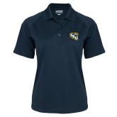 Ladies Navy Textured Saddle Shoulder Polo-SAU stepped with Cougar Head