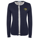 Ladies Navy Cardigan-Cougar Head