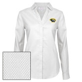 Ladies Red House Diamond Dobby White Long Sleeve Shirt-Cougar Head