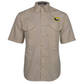 Khaki Short Sleeve Performance Fishing Shirt-Cougar Head