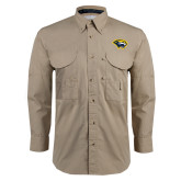 Khaki Long Sleeve Performance Fishing Shirt-Cougar Head