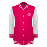 Ladies Pink Raspberry/White Fleece Letterman Jacket-Cougar Head