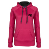 Ladies Pink Raspberry Tech Fleece Hoodie-SAU stepped with Cougar Head