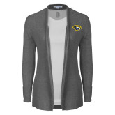 Ladies Heather Grey Open Front Cardigan-Cougar Head
