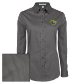 Ladies Grey Tonal Pattern Long Sleeve Shirt-Cougar Head