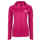 Ladies Tech Fleece Full Zip Hot Pink Hooded Jacket-Cougar Head