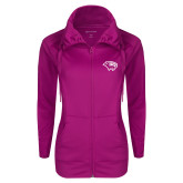 Ladies Sport Wick Stretch Full Zip Deep Berry Jacket-Cougar Head