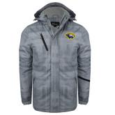 Grey Brushstroke Print Insulated Jacket-Cougar Head