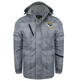 Grey Brushstroke Print Insulated Jacket-SAU stepped with Cougar Head