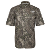 Camo Short Sleeve Performance Fishing Shirt-Cougar Head