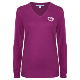 Ladies Deep Berry V Neck Sweater-Cougar Head