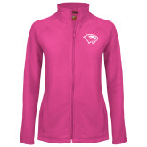 Ladies Fleece Full Zip Raspberry Jacket-Cougar Head