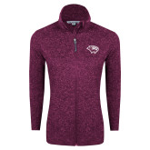 Dark Pink Heather Ladies Fleece Jacket-Cougar Head