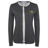 Ladies Charcoal Cardigan-Cougar Head