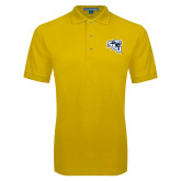 Gold Easycare Pique Polo-SAU stepped with Cougar Head