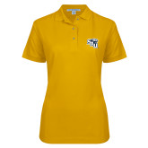 Ladies Easycare Gold Pique Polo-SAU stepped with Cougar Head