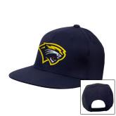 Navy Flat Bill Snapback Hat-Cougar Head