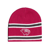 Pink/Charcoal/White Striped Knit Beanie-Cougar Head