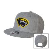 Heather Grey Wool Blend Flat Bill Snapback Hat-Cougar Head