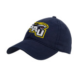 Navy Twill Unstructured Low Profile Hat-SAU stepped with Cougar Head
