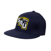 Navy OttoFlex Flat Bill Pro Style Hat-SAU stepped with Cougar Head
