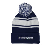 Navy/White Two Tone Knit Pom Beanie with Cuff-Spring Arbor