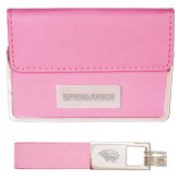 Business Card Case and Key Ring Set Pink-Spring Arbor Engraved