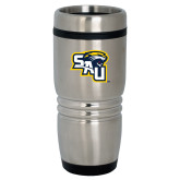 Rolling Ridges Silver Stainless Tumbler 16oz-SAU stepped with Cougar Head