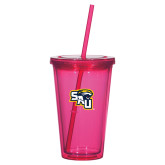 Madison Double Wall Pink Tumbler w/Straw 16oz-SAU stepped with Cougar Head