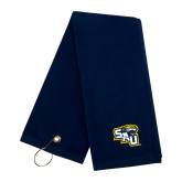 Navy Golf Towel-SAU stepped with Cougar Head