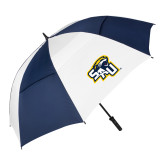 62 Inch Navy/White Vented Umbrella-SAU stepped with Cougar Head