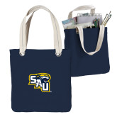 Allie Navy Canvas Tote-SAU stepped with Cougar Head