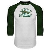 White/Dark Green Raglan Baseball T Shirt-Primary Athletics Mark