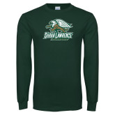 Dark Green Long Sleeve T Shirt-Primary Athletics Mark Distressed