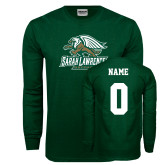 Dark Green Long Sleeve T Shirt-Primary Athletics Mark, Custom Tee w/ Name and #