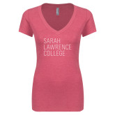 Next Level Ladies Vintage Pink Tri Blend V Neck Tee-Primary Mark